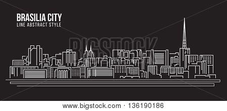 Cityscape Building Line art Vector Illustration design - Brasilia city