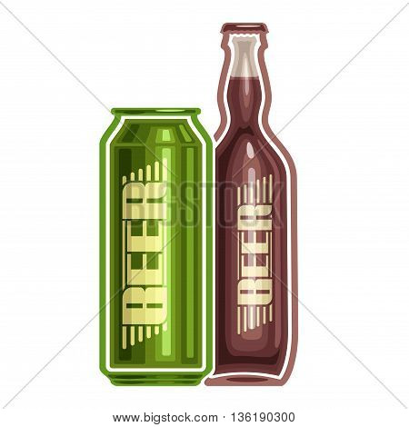 Vector logo for can and bottle beer, consisting of aluminum metal can and glass bottle filled light lager pilsner and dark Porter beer on white background. Container with alcohol drink exclusive label