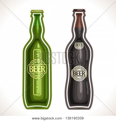 Vector logo for bottle beer, consisting of 2 isolated glass bottle, filled to the brim light lager  pilsner and dark Porter beer on a white background. On glass pint with alcohol drink exclusive label