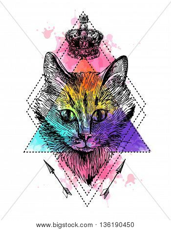 Vector hand drawn illustration head of cat. Boho style poster. Ink sketch drawing of cat.