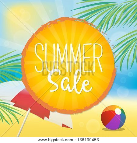 Summer Sale Vector Illustration. Text on a Orange Badge and a Beach Background.