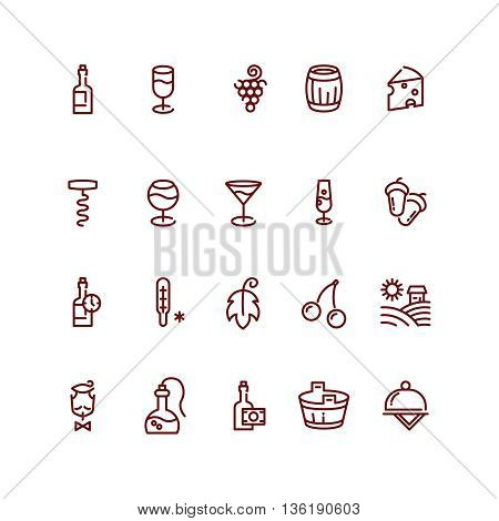 Wine and sommelier line vector icons. Wine glass icon,  wine outline element, wineglass beverage, wine bottle illustration