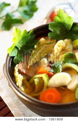 Soup With Vegetables And Garlic
