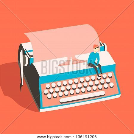 Man on vintage typewriter. Vector illustration. Isolated background. writing text. Typography. Writer tool Retro manual typewriter. Figure of human