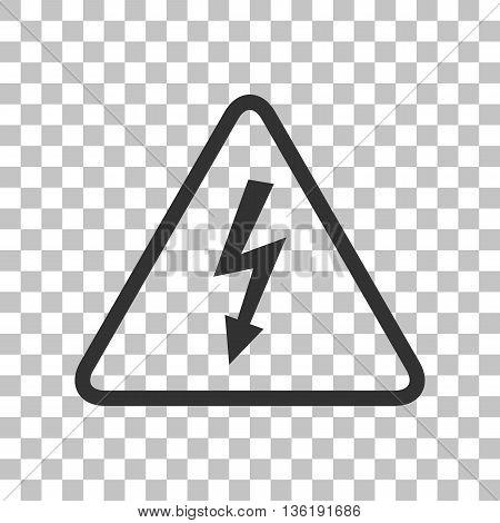 High voltage danger sign. Dark gray icon on transparent background.