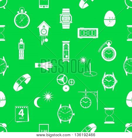 Time Theme Modern Simple Icons Seamless Green Pattern Eps10