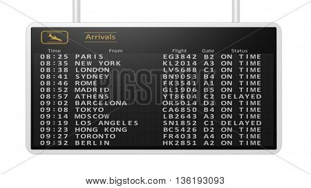 3D rendering of airport digital arrivals timetable.Isolated