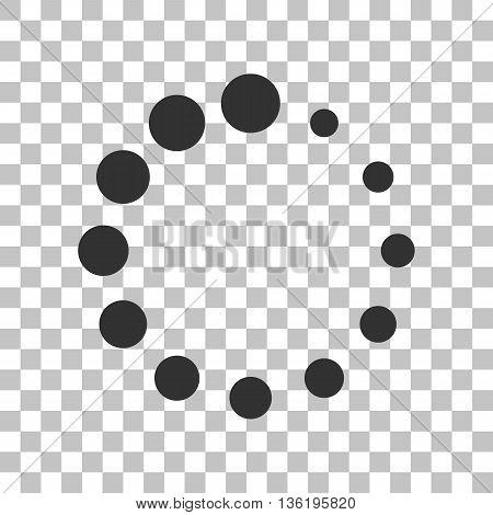 Circular loading sign. Dark gray icon on transparent background.