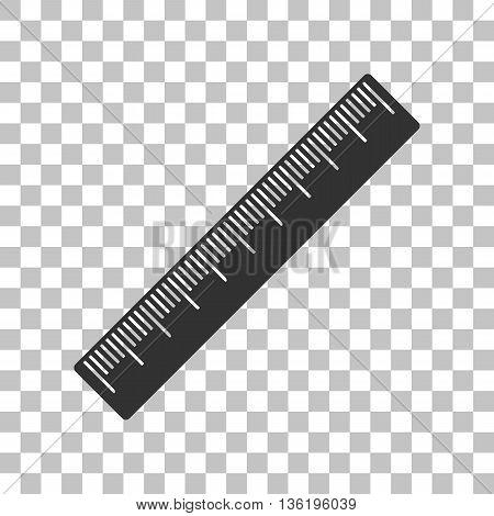 Centimeter ruler sign. Dark gray icon on transparent background.