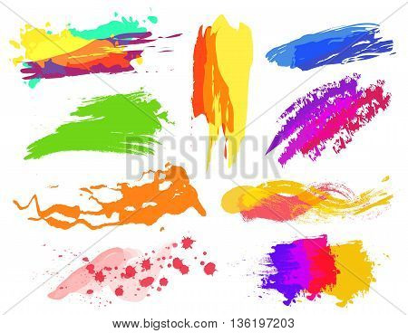 Handmade vector colorful paint strokes collection. Dofferent colors