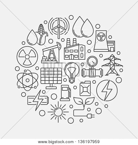 Energy concept illustration. Vector round industrial linear symbol. Power and energy creative sign made with thin line icons