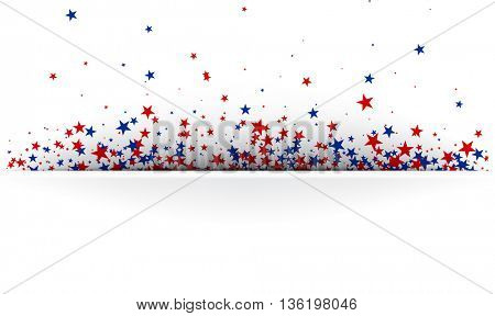 Banner with red and blue stars. Vector paper illustration.