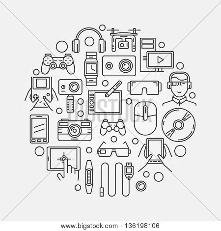Gadgets and technology illustration. Vector round gadget creative sign or symbol in thin line style