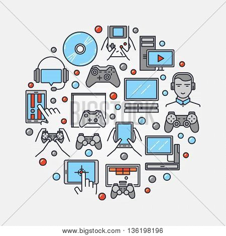 Gamers round illustration. Vector colorful gamer symbol made with gaming icons. Flat with video game consoles and videogames sign