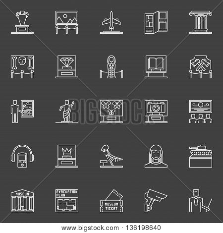 Museum linear icons set. Vector collection of exhibition and museum symbols or logo elements on dark background