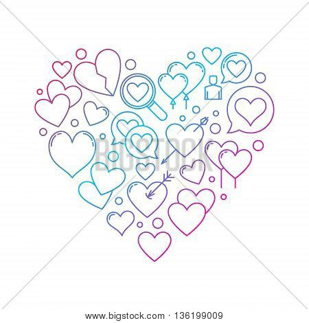 Searching for love concept. Vector find love symbol made with thin line icons. Finding Love bright linear illustration