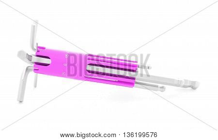 Hex key steel tool for construction isolated on white background