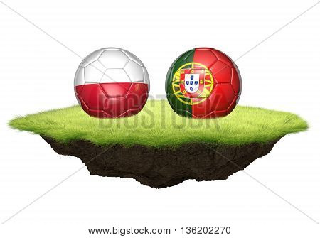 Poland vs Portugal team balls for football championship tournament, 3D rendering