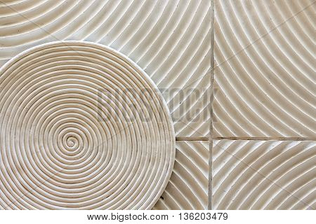 an abstract circle shape spin decorated on the wall as a background texture