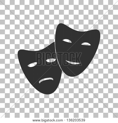 Theater icon with happy and sad masks. Dark gray icon on transparent background.