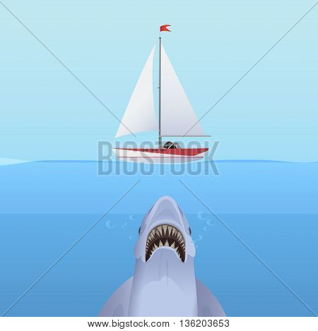 Hungry Shark Attack yacht ship from the ocean water