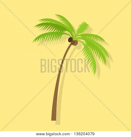 Palm tree silhouettes with coconut. Vector illustration isolated on yellow background