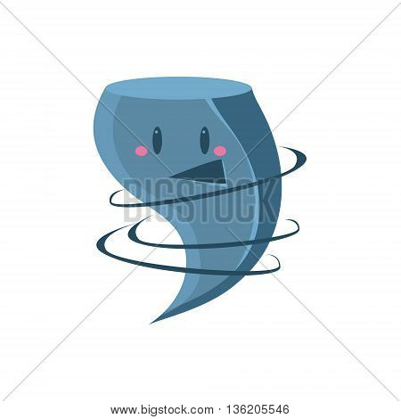 Happy Tornado Character Cute Childish Style Bright Color Design Icon Isolated On White Background