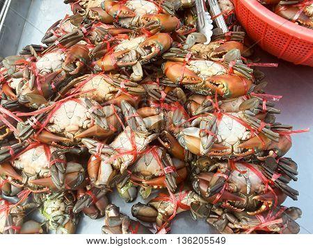 Crabs raw fresh seafood  in market Thailand