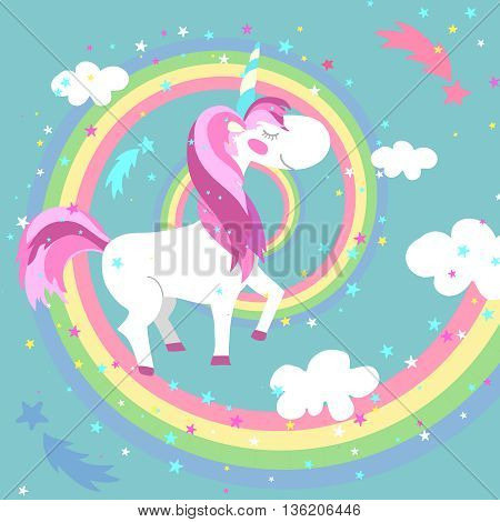 Unicorn and rainbow vector illustration. Unicorn on colored rainbow. Horse or pony fairy, swirl rainbow, childish creature unicorn, spiral rainbow illustration