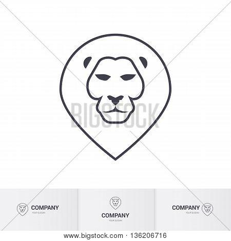 Lion Head for Heraldic or Mascot Design on White Background