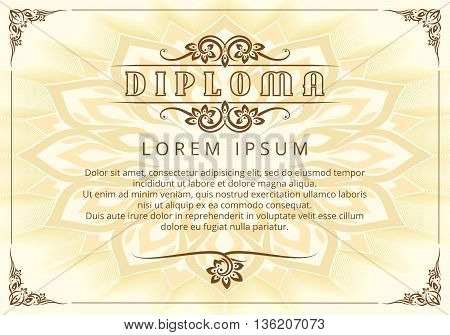 Diploma design template with Thai design elements. Design ornate diploma, award graduation, template diploma. Vector illustration