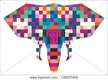 Animal head elephant triangular pixel icon , geometric trendy line design. Vector illustration ready for tattoo or poster. Animal Africa - elephant.