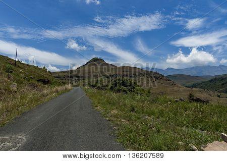 Road to Giants Castle KwaZulu-Natal nature reserve, Drakensberg South Africa.
