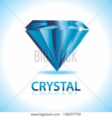 A blue crystal shiny logo. Precious and valuable.