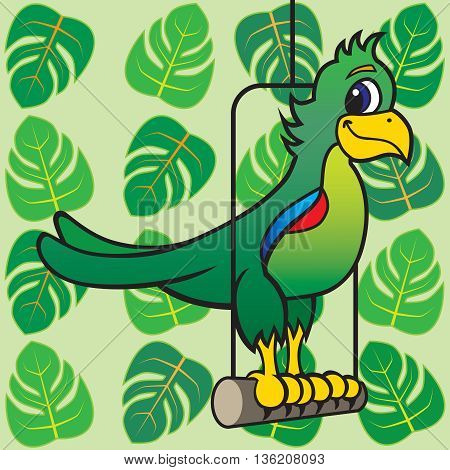 Cartoon parrot resting on perch against backdrop of tropical leaves