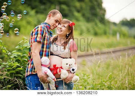 Happy Young Couple Expecting Baby, Pregnant Woman With Husband