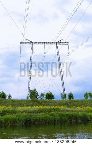 Support High-voltage Power Transmission Lines And Five Hundred Thousand Volts (500) Leading Across T
