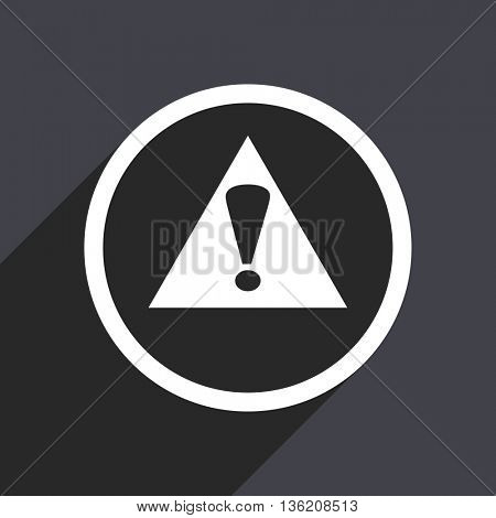 Flat design gray web exclamation sign vector icon