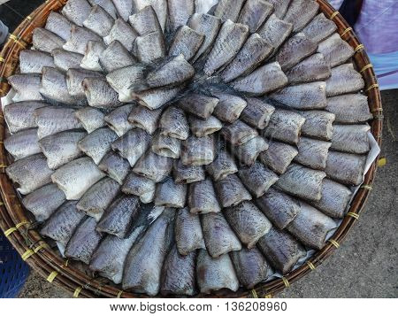 Fish raw fresh seafood in market Thailand