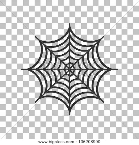 Spider on web illustration. Dark gray icon on transparent background.