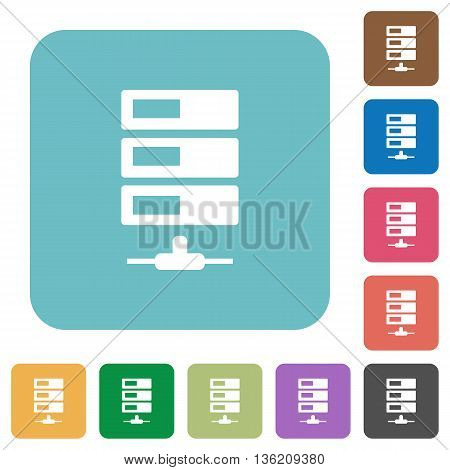Flat data network icons on rounded square color backgrounds.