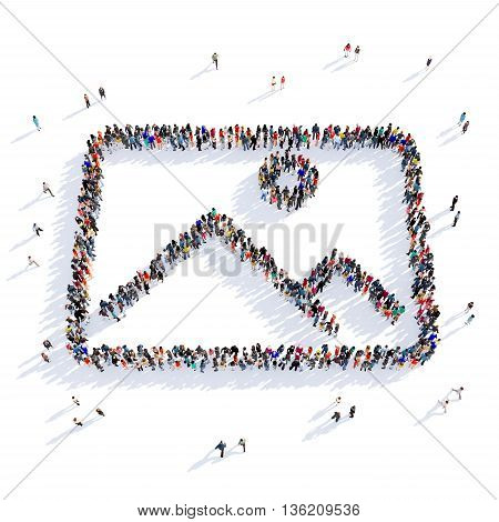 Large and creative group of people gathered together in the shape of photography, images. 3D illustration, isolated against a white background.