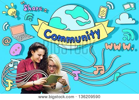 Community Online Communication Www Concept