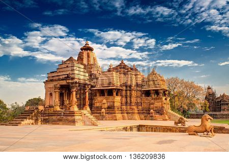 Devi Jagdambi Temple dedicated to Parvati Western Temples of Khajuraho Madhya Pradesh India. it's an UNESCO world heritage site - popular amongst tourists all over the world.