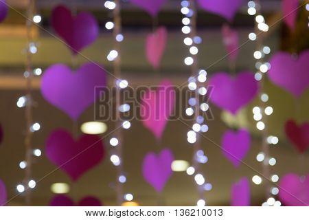 Heart bokeh blur background Valentine's day background