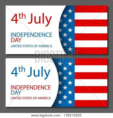 Vector - United States Flag Glossy Usa Flag Set Independence Day