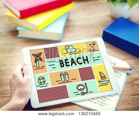 Beach Coast Ocean Sea Shore Summer Travel Concept