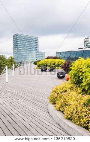 June 22 2016 - Vilnius Lithuania: Swedbank Terrace - a modern terrace designed as a part of the office complex near Neris river.