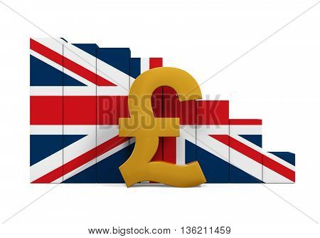 Great Britain Pound Symbol and Graph Chart isolated on white background. 3D render