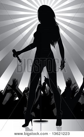 Pop Singer Performing On Stage With Crowd Cheering